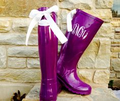 TCU Game Day Purple Rain Boots with White bows by PuddlesNRainBows, $86.00