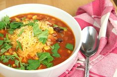 SalsaSoup (red kidney beans, black beans, corn, cilantro, red bell pepper)
