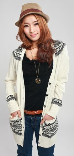 Fashion Printed Long Cardigan Sweater - BuyTrends.com