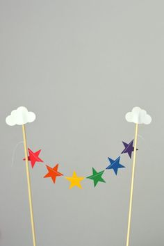 Rainbow Clouds and Stars Cake Topper mini by thePathLessTraveled