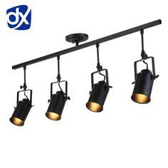Golden Track Light Rail Spotlights 110v 220v Coffee Cloth Shop Art Gallary Picture Mirror Lighting Adjustable Ceiling Spot Light Great Varieties Track Lighting