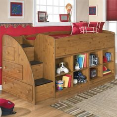Amazing kids room wooden twin loft bed with storage unit underneath from Ashley Furniture. 30 Cool Kids Bedroom Space Saving Ideas: Loft Bed And Bunk Beds With Closet And Hidden Storage Unit Underneath Bunk Beds With Stairs, Kids Bunk Beds, Loft Beds, Loft Stil, Smart Bed, Cool Kids Bedrooms, Small Bedrooms, Bedroom Kids, Kids Rooms