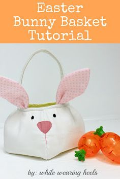 Free pattern & tutorial for fabric Easter bunny basket.