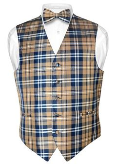 Men's Plaid Design Dress Vest BOWTie Navy Brown White BOW Tie Set