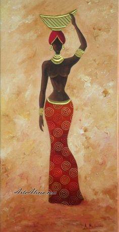 CUADRO: Mujer Africana - láminas - Black Girl Art, Black Women Art, African American Art, African Women, Afrique Art, African Art Paintings, Black Art Pictures, Tribal Art, Fabric Painting