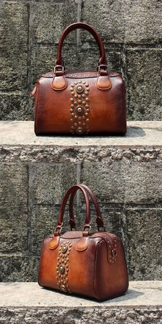 Rivets Womens Designer Handbags Brown Leather Shoulder Bag for Women -  Brown. Vintage BagsVintage ... 54f12bfc43005