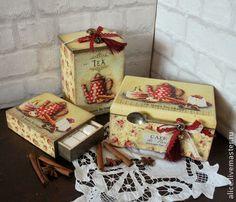 """Koszyki, pudełka wykonane ręcznie. Targi Masters - ręcznie pole """"francuski piekarnia"""" na herbatę. Handmade."""
