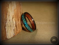 Bentwood Macassar Ebony Wood Ring and Chrysocolla Stone Inlay - Bentwood Wood Rings - Custom handcrafted wooden rings both durable and unique