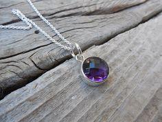 Beautiful deep purple amethyst necklace handmade in sterling silver by Billyrebs on Etsy