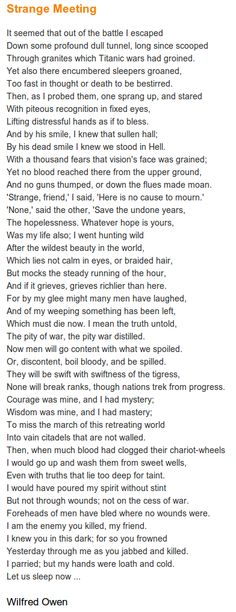 "Poem: ""Strange Meeting"" - by Wilfred Owen. Wilfred Owen, Comparative Literature, Battle Of The Somme, Human Emotions, Quotes To Live By, Texts, Inspirational Quotes, Thoughts, Infj"