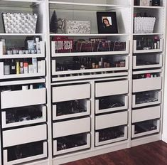 <img> MAKEUP STORAGE HEAVEN 🌤 I've waited so long to reveal my makeup collection & here we finally are! 🙌🏼 I'm so grateful to have the storage… - Malm Drawers, Storage Drawers, Locker Storage, Ikea Malm Dressing Table, Rangement Makeup, Makeup Collection Storage, Cute Bedroom Decor, Make Up Storage, Glam Room
