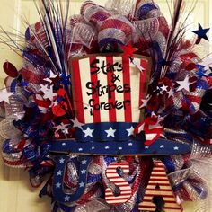 July 4th wreath! [ Thesterlinghut.com ] #holiday #personalized #sterling