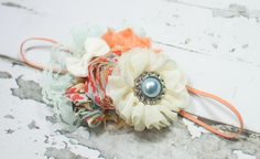 Garden of Eden - headband in peach, coral, mint, dusty blue, aqua, and ivory by SoTweetDesigns