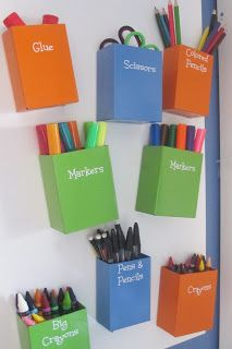 Metal containers on magnet board