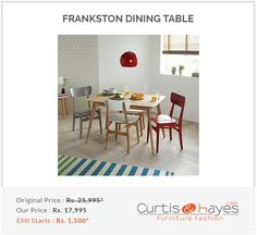 Made from pure teak wood and finished in a rich, oak stain, the Frankston 4 seater dining table is simple to care for and reasonable to purchase. Table, Extendable Dining Table, Dining Room Furniture, Dining Furniture, Furniture, Coffee Table Design, Latest Dining Table, 6 Seater Dining Table, Retro Kitchen