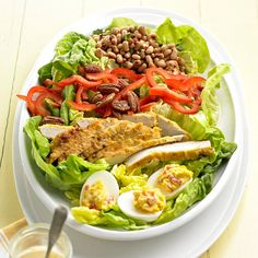 Creamy cream cheese dressing really pumps up this yummy Southern Cobb Salad. Get 30 more summer salads here: http://www.bhg.com/recipes/salads/ideas/salad-recipes-ideas/?socsrc=bhgpin062514southerncobbsalad&page=18
