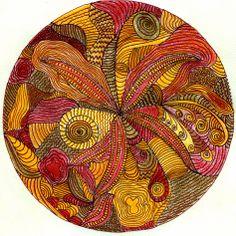 Zendala, aardetinten, kleurpotlood, getekend door Marja Visscher