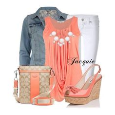 #jeans blancos + blusa #coral