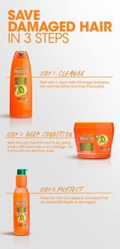 Bring strength back to damaged hair in 3 quick steps with Garnier Fructis. 1) Massage Damage Eraser Shampoo through wet hair, lather and rinse. 2) Once a week, swap out your conditioner with mega-moisturizing Strength Reconstructing Butter. Work it through hair from root to tip. Leave in for 3-5 minutes, then rinse. 3) Towel dry hair and apply Split End Bandage to weak areas to protect from future damage.