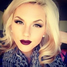 Perfect fall makeup with bold red lips