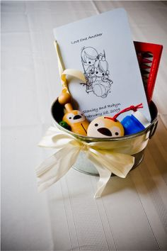 A great idea for the children attending your wedding. A fun little pail of toys and coloring that will help keep them busy. And a simple DIY project!