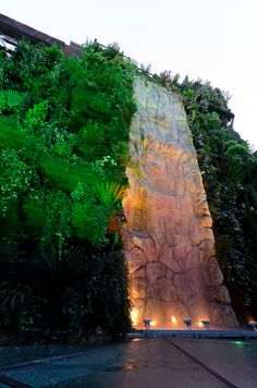 Jardin Vertical entre Callao y Granvia Madrid Landscape Walls, Landscape Architecture, Green Architecture, Decorative Water Fountain, Vertikal Garden, Madrid Restaurants, Green Facade, Vertical Garden Design, Le Palais