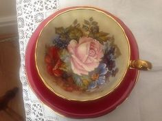 Aynsley J Bailey Handpainted Bone China Cup And Saucer