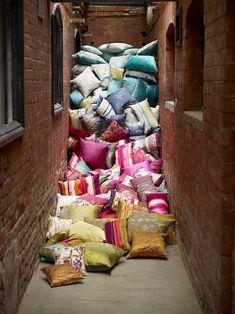 Kallianthi Fabrics - botanical patterns by Clarissa Hulse.i love colorful pillows, they breath new life into spaces! Harlequin Fabrics, Enchanted Home, Colorful Pillows, Pillow Talk, Pillow Fight, Soft Furnishings, Decoration, Fabric Design, Pattern Design