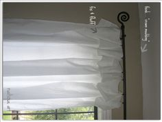 """No sew curtains with valance from flat twin sheets from Walmart....I'm making these and adding colored ribbon on the """"valance"""""""