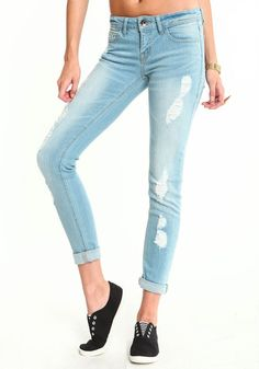Distressed Cuff Up Jeans, LIGHT DENIM, large