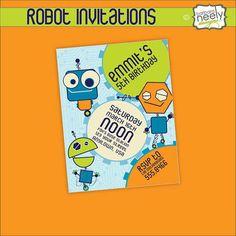 Robot birthday invitation robot gearing up birthday invitation robot birthday invitation robot gearing up birthday invitation 5x7 jpg digital file robot birthdays and star party filmwisefo