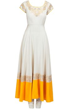 Ivory and yellow gota embroidred anarkali set available only at Pernia's Pop-Up Shop.