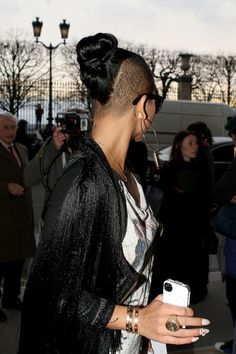 Hair Knot Lookbook: Cassie wearing Hair Knot (2 of 9). Cassie attended fashion week in Paris wearing her tresses in tight top knot.