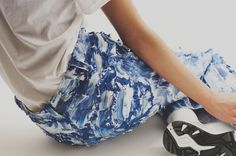 Silicone painted jeans at Faustine Steinmetz AW15 presentation LFW. See more here: http://www.dazeddigital.com/fashion/article/23738/1/faustine-steinmetz-aw15