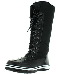 Nature Breeze Frost-02 Women's Lace Up Faux Fur Collar Tongue Flat Winter Boots,Black,8 *** You can find out more details at the link of the image.