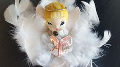 Vintage White Feather Angel Christmas Ornament