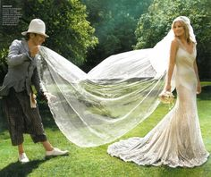 kate moss & galliano   gown and veil perfection