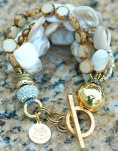 Holiday Inspired Rhinestone, Champagne Pearl, Bronze & Gold Bracelet