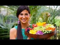 FullyRaw Rainbow Salad & Low-Fat Guacamole! - YouTube