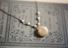 Nautical White Freshwater Pearls Shell Locket Necklace , Wedding Jewelry Gift for Bridemaid