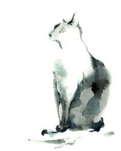 Cat Watercolor Print Cat Painting Minimalist by CanotStopPrints