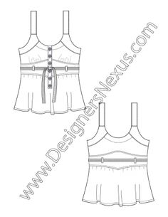 Flat Sketch Belted Tank Top Blouse with Half Placket and Shaped Empire Insert V2