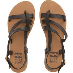 Billabong Women's Tan Linez Sandals ($45) ❤ liked on Polyvore featuring shoes, sandals, flats, footwear, off black, ankle wrap sandals, black sandals, black strap sandals, ankle strap sandals and strappy flats