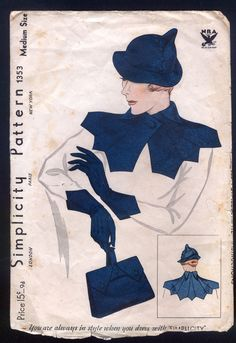 1930 Simplicity Pattern - Ladies' Hat, Collar, Gloves and Handbag 1353
