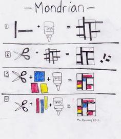 Mondrian lesson for elementary students - Art Lesson Plans Mondrian Kunst, Piet Mondrian, Mondrian Dress, Mondrian Art Projects, School Art Projects, Arte Elemental, Classe D'art, Art Handouts, First Grade Art