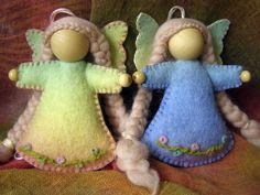 Felt Fairy - All natural hand dyed rainbow coloured felt, wooden beads and heart, needle felted dress.