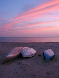Boats at Sunset Manatoulin Island Ontario