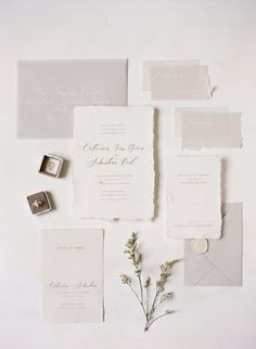 Timeless and Ethereal Wedding Inspiration at The Walper Hotel. This is a gorgeous I love the tones and the hand torn paper. wedding invitations Timeless and Ethereal Wedding Inspiration at The Walper Hotel Minimalist Wedding Invitations, Letterpress Wedding Invitations, Unique Wedding Invitations, Wedding Invitation Wording, Printable Wedding Invitations, Wedding Stationary, Invitation Cards, Invitation Suite, Ethereal Wedding