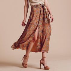 This flowy, printed skirt equals outfit completion. It adds just the right amount of bohemian flair to any simple top.