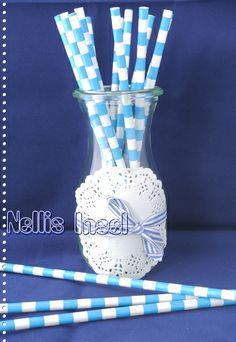25 Papierstrohhalme blau-weiß Ringel Paper Straws  von NellisInsel auf DaWanda.com